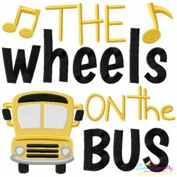 The Wheels On The Bus Nursery Rhyme Embroidery Design
