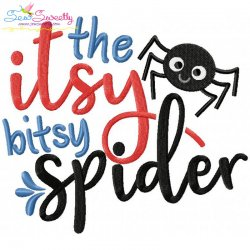 The Itsy Bitsy Spider Nursery Rhyme Embroidery Design