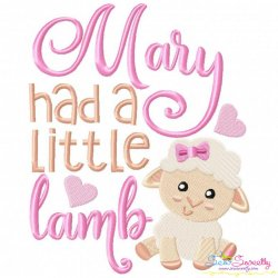 Mary Had a Little Lamb Nursery Rhyme Embroidery Design