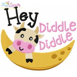Hey Diddle Diddle Nursery Rhyme Embroidery Design