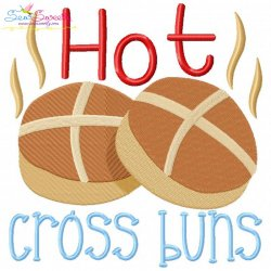 Hot Cross Buns Rhyme Embroidery Design