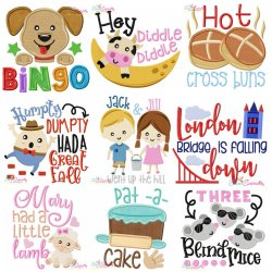 Nursery Rhyme Lettering-v2 Embroidery Design Bundle