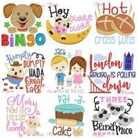 Nursery Rhyme Lettering-v2 Embroidery Design Bundle