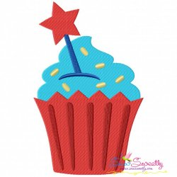 Star Cupcake Machine Embroidery Design