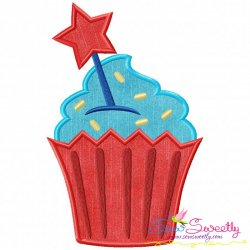 Star Cupcake Applique Design