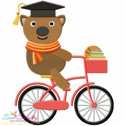 Animal Student-Bear Embroidery Design