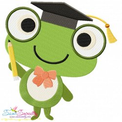 Animal Student-Frog Embroidery Design