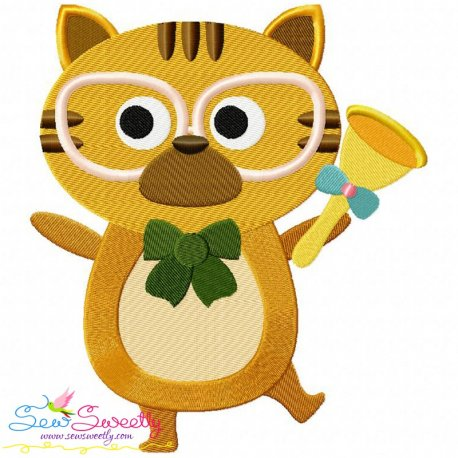 Animal Student-Cat Embroidery Design