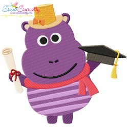 Animal Student-Hippo Embroidery Design