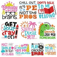 School Lettering Embroidery Design Bundle