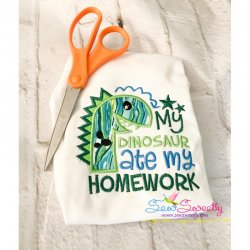 My Dinosaur Ate My Homework Applique Design
