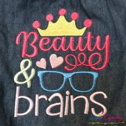 Beauty And Brains Embroidery Design