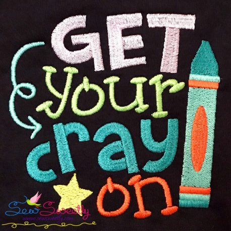 Get Your Crayon School Lettering Embroidery Design Pattern- Category- Back To School Designs- 1