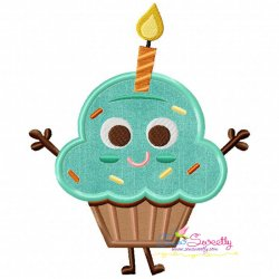 Free Birthday Cupcake Applique Design