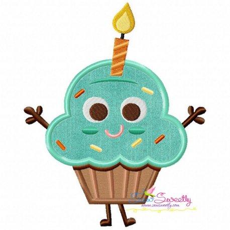 Birthday Cupcake Applique Design