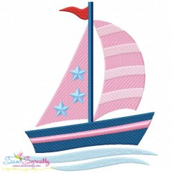 Pink Navy Sailboat Embroidery Design