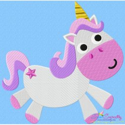 Pink Unicorn Embroidery Design