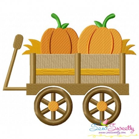 Pumpkin Wagon Embroidery Design Pattern- Category- Fall And Thanksgiving- 1