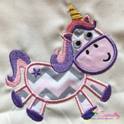 Pink Unicorn Applique Design