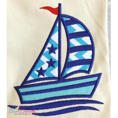 Pink Navy Sailboat Applique Design