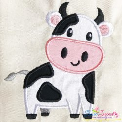 Cute Cow Applique Design