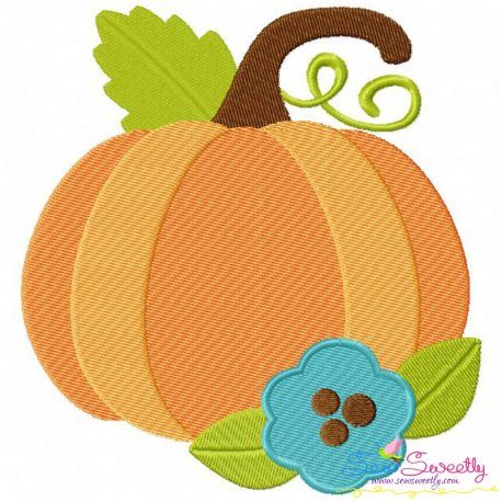 Pumpkin With Flower Embroidery Design- Category- Fall And Thanksgiving- 1