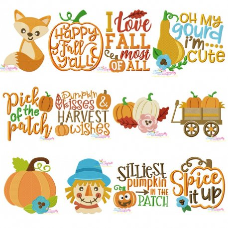 Fall And Thanksgiving Embroidery Design Bundle Pattern- Category- Embroidery Design Bundles- 1