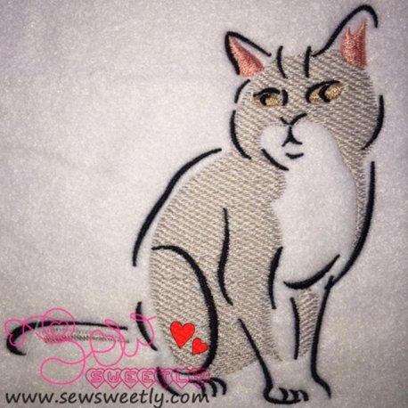 Cute Cat Embroidery Design