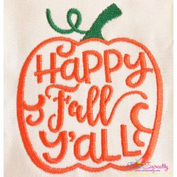 Happy Fall Y'all Lettering Embroidery Design