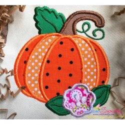 Pumpkin With Flower Applique Design