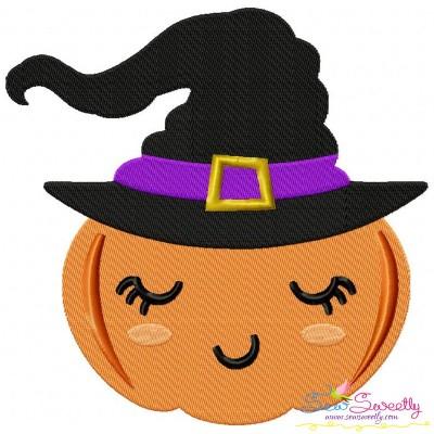 Halloween Witch Pumpkin Embroidery Design