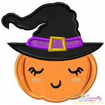 Witch Pumpkin Applique Design