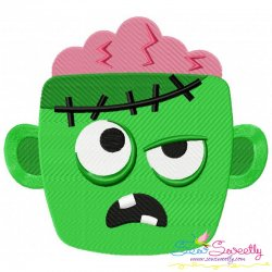 Zombie Face Embroidery Design