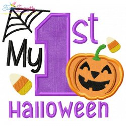 My 1st Halloween Lettering Applique Design