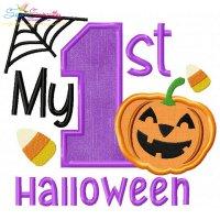 My 1st Halloween Lettering Applique Design