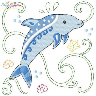 Sea Life Block- Dolphin Embroidery Design