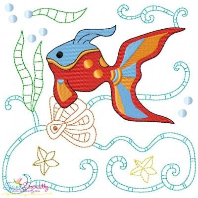 Sea Life Block- Goldfish Embroidery Design