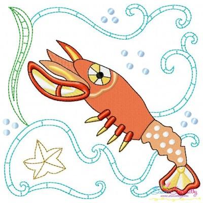 Sea Life Block- Lobster Embroidery Design