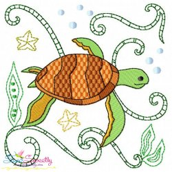 Sea Life Block- Sea Turtle Embroidery Design