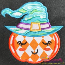 Witch Pumpkin Applique Design