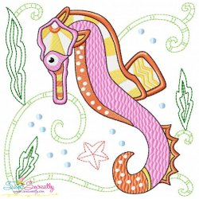Sea Life Block- Seahorse Embroidery Design
