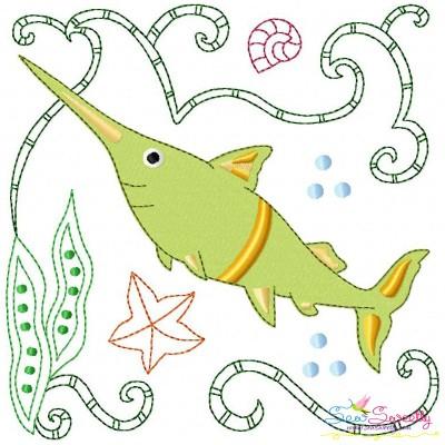 Sea Life Block- Swordfish Embroidery Design