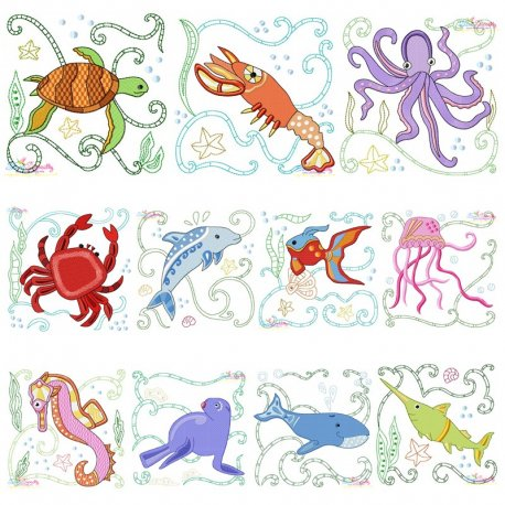 Sea Life Blocks Embroidery Design Bundle