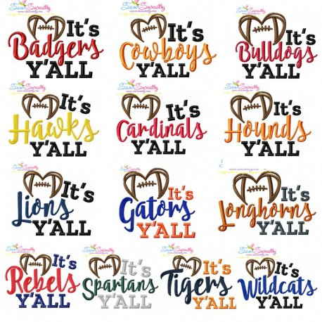It's Football Y'all Embroidery Design Bundle