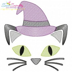 Halloween Cat Face Sketch Embroidery Design