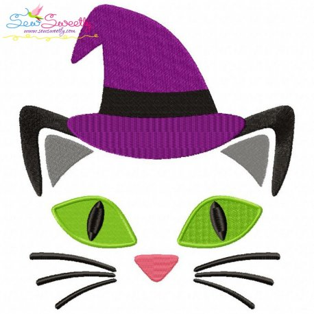 Halloween Face- Cat-Filled Embroidery Design