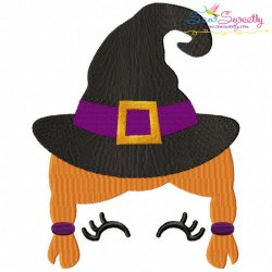 Halloween Face- Witch-Filled Embroidery Design