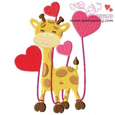 Valentine Giraffe Embroidery Design
