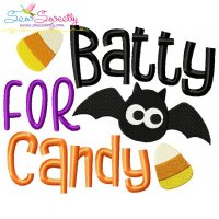 Batty For Candy Halloween Lettering Embroidery Design