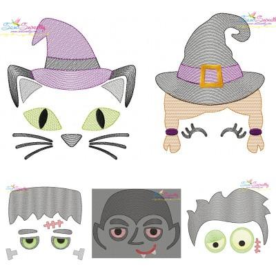 Halloween Faces- Sketch Embroidery Design Bundle